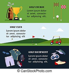 site web, apartamento, jogo, golfe, bandeira, escola, -, cabeçalho, campeonato, acessórios, ilustração, clubes, torneios, curso, jogo, vetorial, golfing, desporto, roupas