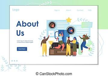 site web, aproximadamente, nós, vetorial, desenho, aterragem, modelo, página