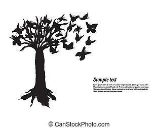 site web, art, arbre, papillons, ton, spécial