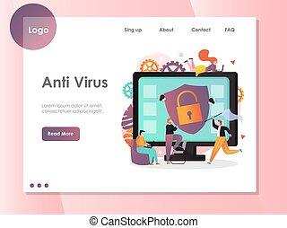 site web, atterrissage, virus, vecteur, anti, gabarit, conception, page