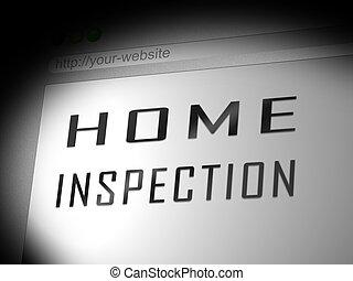 site web, audit, -, illustration, rapport, maison, propriété, inspection, spectacles, condition, 3d