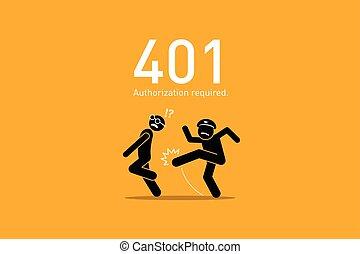 site web, autorisation, 401., required., erreur