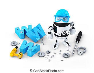 site web, bâtiment, www, concept, réparation, signe., robot...
