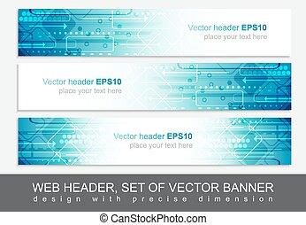 site web, bandeira, abstratos, cabeçalho, vetorial, desenho, modelo, ou
