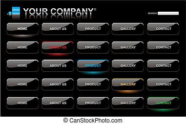 site web, barres, ensemble, bouton, style, noir, lustré, gabarit