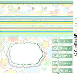 site web, beau, gabarit, moderne, élégant, vecteur, fond, floral