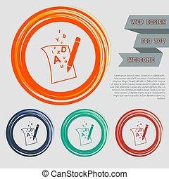 site web, bleu, espace, page texte, boutons, vecteur, conception, lettre, orange, vert, icône, ton, rouges