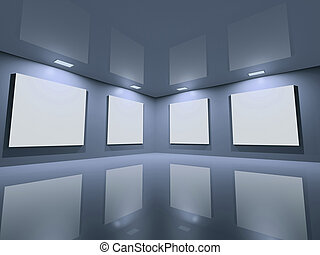 site web, bleu, -, gris, propre, galerie
