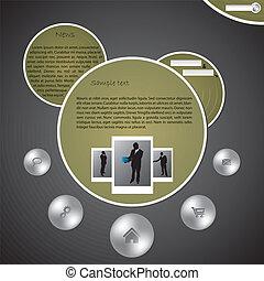 site web, bolha, desenho, modelo