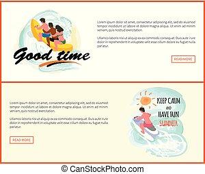 site web, bon, cavalcade, eau, temps, amusement, banane, bateau