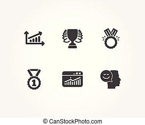 site web, bonne humeur, mieux, gagnant, rang, diagramme, icons., statistiques, honneur, signs.
