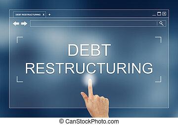 site web, botão, mão, restructuring, imprensa, dívida