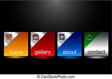 site web, botões, editable