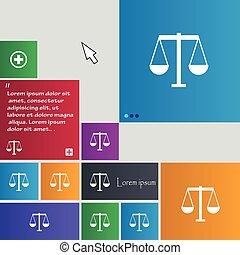 site web, boutons, buttons., balances, justice, signe., moderne, curseur, vecteur, pointer., interface, icône