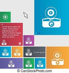 site web, boutons, buttons., photo, signe., moderne, curseur, vecteur, retro, pointer., interface, appareil photo, icône