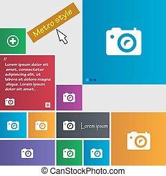 site web, boutons, style, buttons., métro, photo, signe., moderne, curseur, vecteur, numérique, pointer., interface, appareil photo, icône