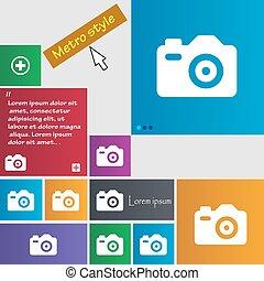 site web, boutons, style, buttons., métro, photo, signe., moderne, curseur, vecteur, pointer., interface, appareil photo, icône
