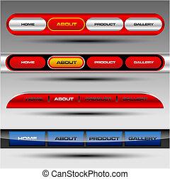 site web, boutons, vecteur, editable
