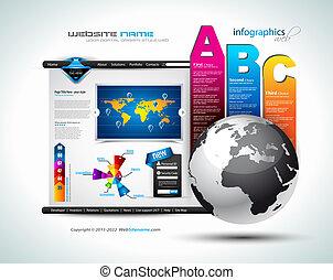site web, business, -, élégant, conception, hitech