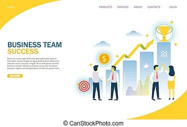 site web, business, reussite, atterrissage, vecteur, conception, gabarit, équipe, page