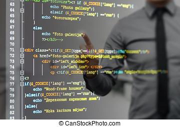 site web, código, apontar, tela, programação, virtual, homem
