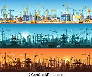 site web, cidade, silueta, illustration., apartamento, guindastes, tratores, ou, escavadoras, vetorial, escavadores, arranha-céu, sob, trendy, grader, horizontais, bandeira, torre, construction.