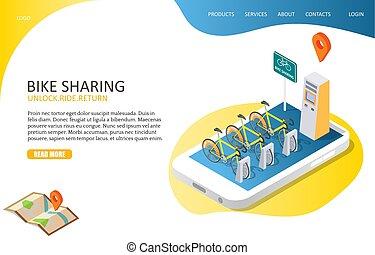 site web, compartilhar, aterragem, bicicleta, vetorial, modelo, página
