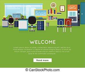site web, concept., bem-vindo, template., escritório