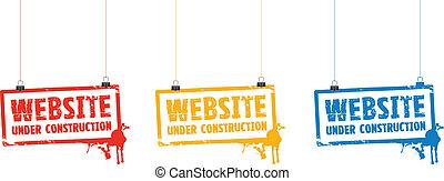 site web, construction, signes