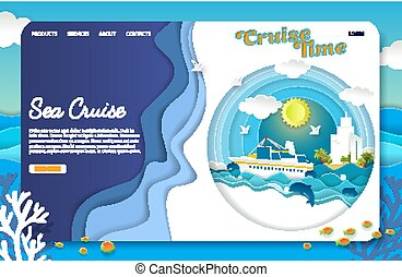 site web, coupure, mer, vecteur, papier, atterrissage, gabarit, croisière, page