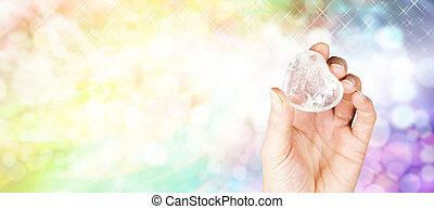 site web, cristal, tête, thérapie, bannière