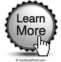 site web, cromo, botão, -, sinal, cursor, app., vetorial, aprender, mais, mão, ou, circular