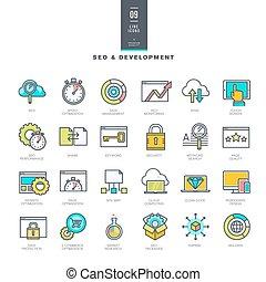 site web, développement, ligne, icônes