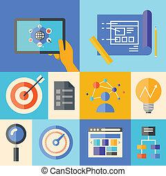 site web, desenvolvimento, ilustração, conceito