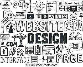 site web, doodle, elementos, desenho