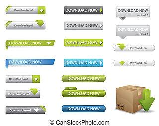 site web, download, botões