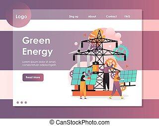 site web, energia, aterragem, vetorial, verde, modelo, desenho, página
