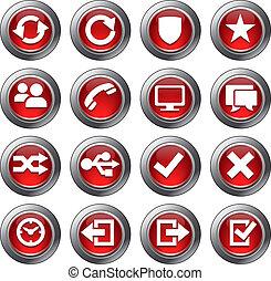site web, ensemble, icônes, -, 2, rouges