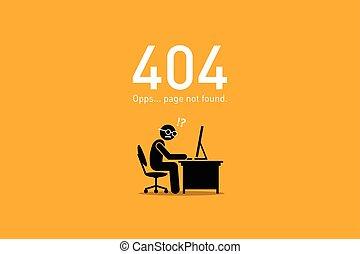 site web, erreur, pas, 404., found., page
