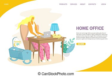 site web, escritório, aterragem, vetorial, desenho, modelo, home page