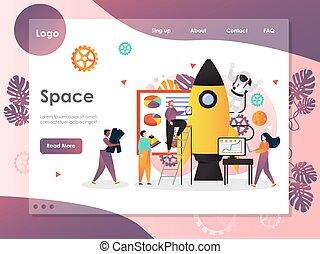 site web, espace, atterrissage, vecteur, conception, gabarit, page