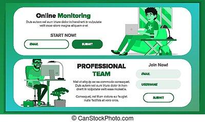 site web, esquema, vector., negócio, investir, person., local, ilustração, template., desenho, modelo, bandeiras, conference., caricatura, reality.