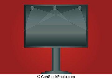 site web, extérieur, annonce, couleur, texte, vide, une, conception, signage, copie, annonces, espace, isolé, lampe, gabarit, vide, éclairé, business, jambe, monté, bannière, vecteur, promotion