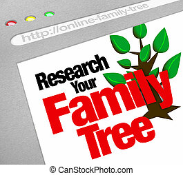 site web, famille, base données, arbre, recherche, ligne, ...