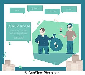 site web, financement, concept, page, nouveau, startups, template., projets