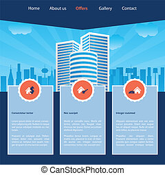 site web, gabarit, cityscape, conception