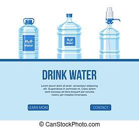 site web, garrafa, jogo, garrafas, vector., saudável, pump...