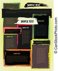 site web, grunge, résumé, moderne, créatif, conception, gabarit