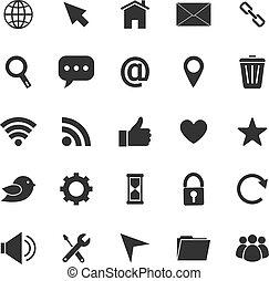 site web, icônes, blanc, fond