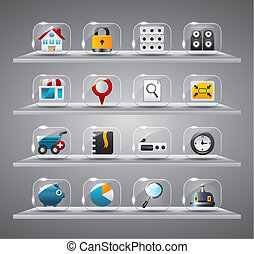 site web, icônes, bouton, verre, internet